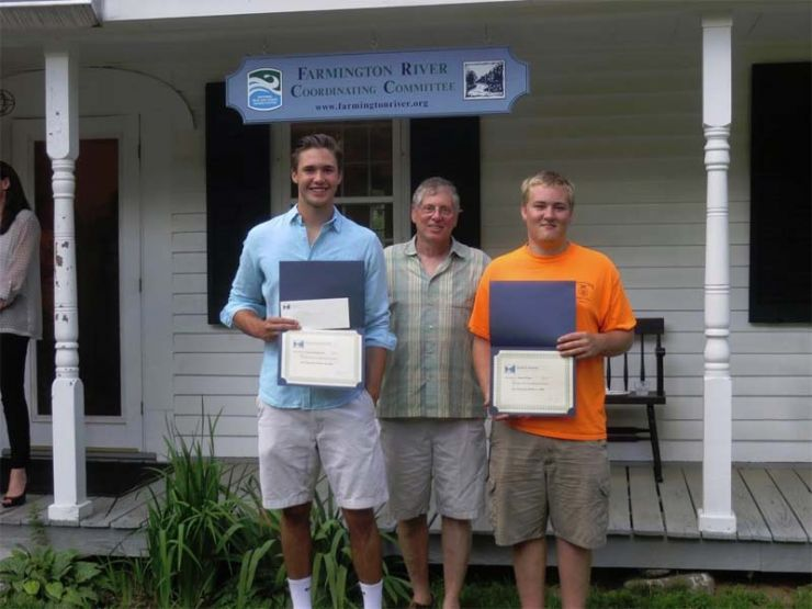 2016 Scholarship recipients Jacob Schaetzel from Canton and Pieter Visser from New Hartford with FRCC's Chairman Roger Behrens.